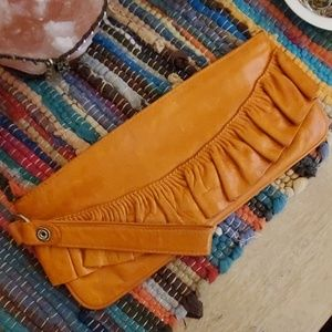 HOBO Orange Leather Clutch Wristlet